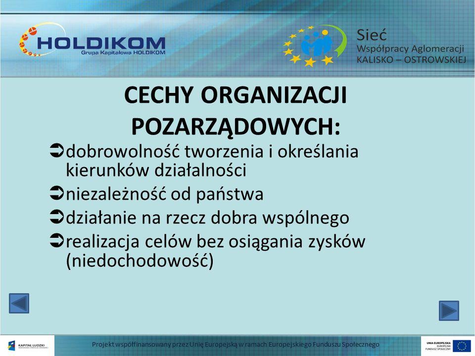 FORMY DZIAŁALNOŚCI (STATUS): Fundacje Stowarzyszenia (rejestrowane w KRS lub w urzędach) 4 Projekt współfinansowany przez Unię Europejską w ramach Europejskiego Funduszu Społecznego
