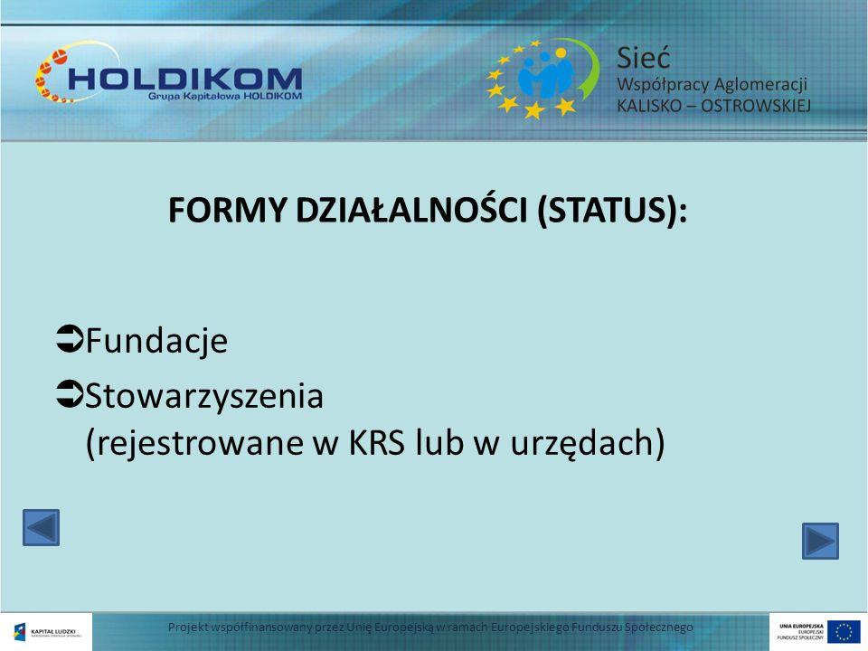 FORMY DZIAŁALNOŚCI (STATUS): Fundacje Stowarzyszenia (rejestrowane w KRS lub w urzędach) 4 Projekt współfinansowany przez Unię Europejską w ramach Eur