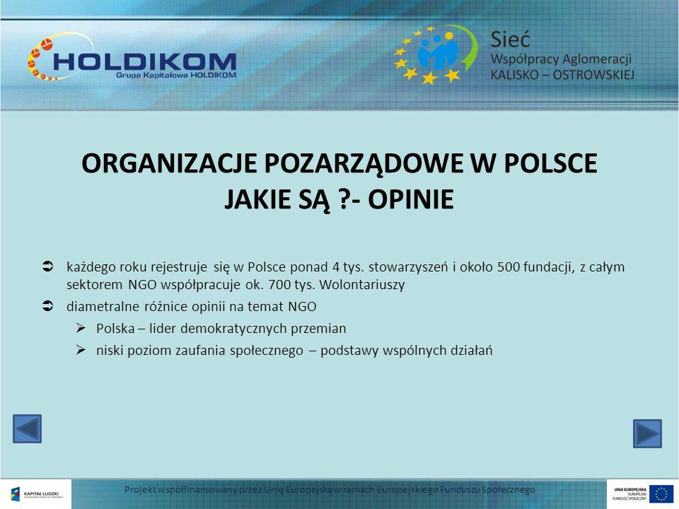 ORGANIZACJE POZARZĄDOWE W POLSCE JAKIE SĄ ?- OPINIE każdego roku rejestruje się w Polsce ponad 4 tys. stowarzyszeń i około 500 fundacji, z całym sekto
