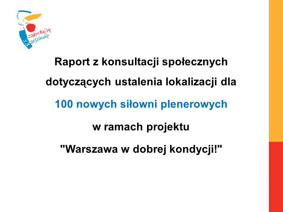Raport z konsultacji społecznych dotyczących ustalenia lokalizacji dla 100 nowych siłowni plenerowych w ramach projektu Warszawa w dobrej kondycji!