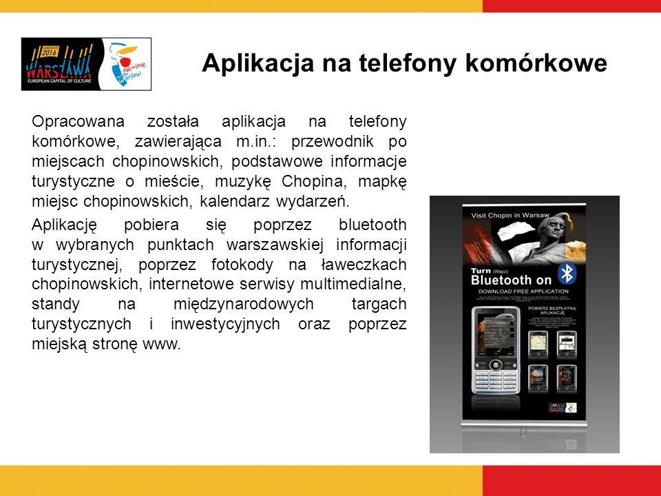 Aplikacja na telefony komórkowe Opracowana została aplikacja na telefony komórkowe, zawierająca m.in.: przewodnik po miejscach chopinowskich, podstawo