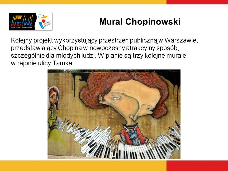 Mural Chopinowski Kolejny projekt wykorzystujący przestrzeń publiczną w Warszawie, przedstawiający Chopina w nowoczesny atrakcyjny sposób, szczególnie