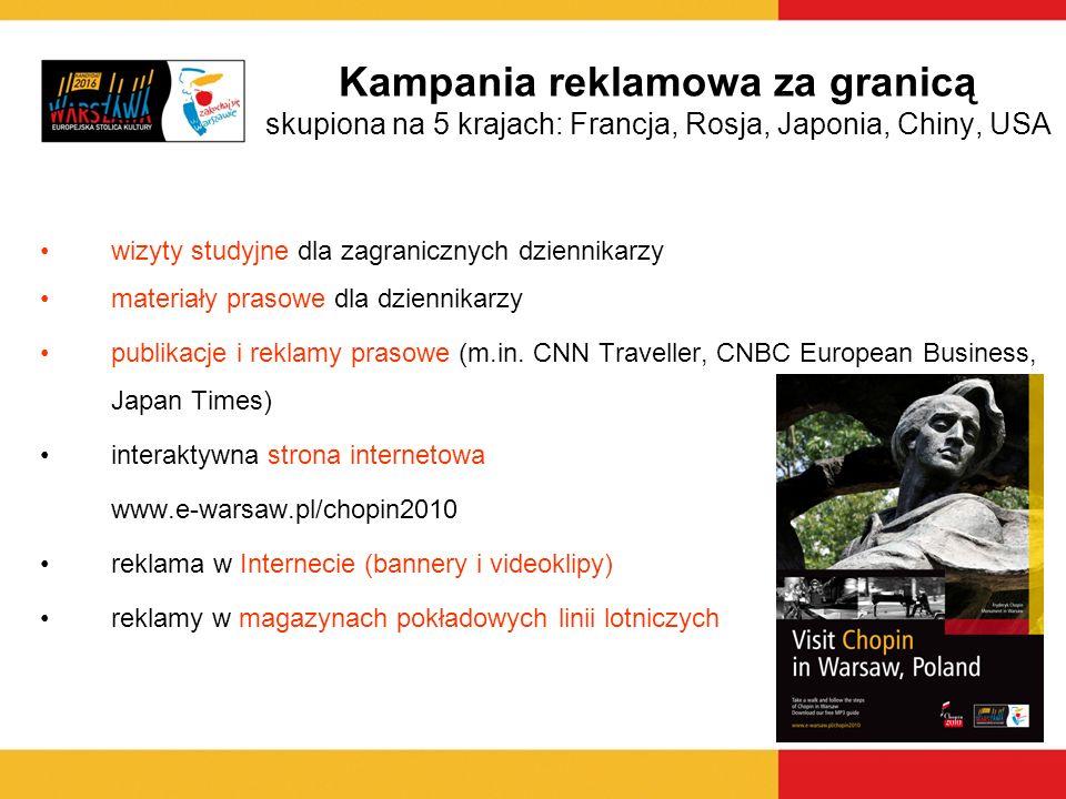 wizyty studyjne dla zagranicznych dziennikarzy materiały prasowe dla dziennikarzy publikacje i reklamy prasowe (m.in. CNN Traveller, CNBC European Bus