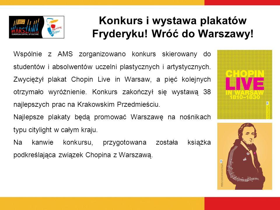 Konkurs i wystawa plakatów Fryderyku! Wróć do Warszawy! Wspólnie z AMS zorganizowano konkurs skierowany do studentów i absolwentów uczelni plastycznyc