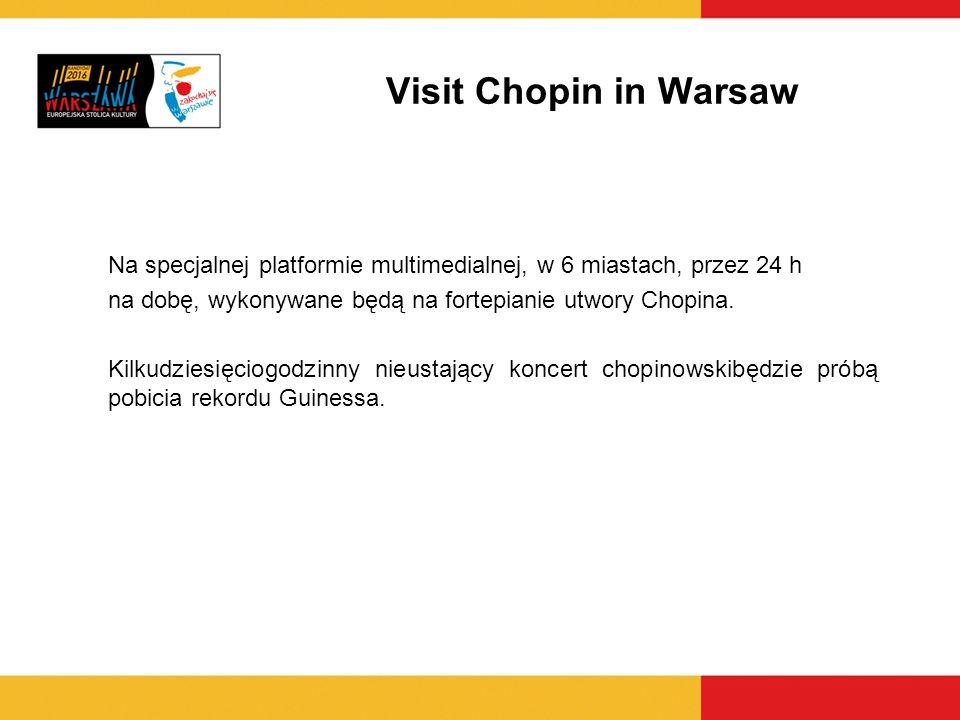 Na specjalnej platformie multimedialnej, w 6 miastach, przez 24 h na dobę, wykonywane będą na fortepianie utwory Chopina. Kilkudziesięciogodzinny nieu