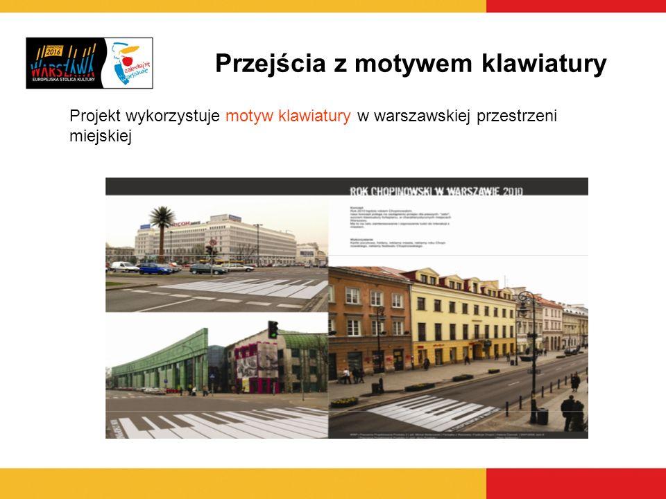 Projekt wykorzystuje motyw klawiatury w warszawskiej przestrzeni miejskiej Przejścia z motywem klawiatury