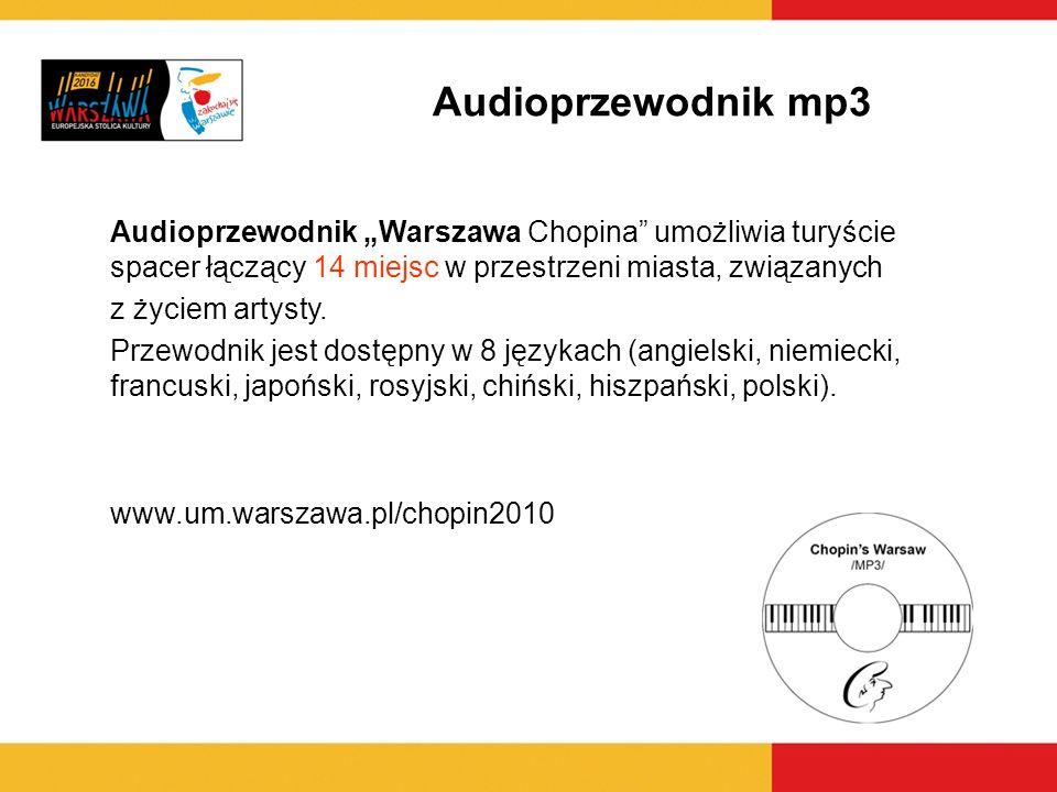 Audioprzewodnik mp3 Audioprzewodnik Warszawa Chopina umożliwia turyście spacer łączący 14 miejsc w przestrzeni miasta, związanych z życiem artysty. Pr