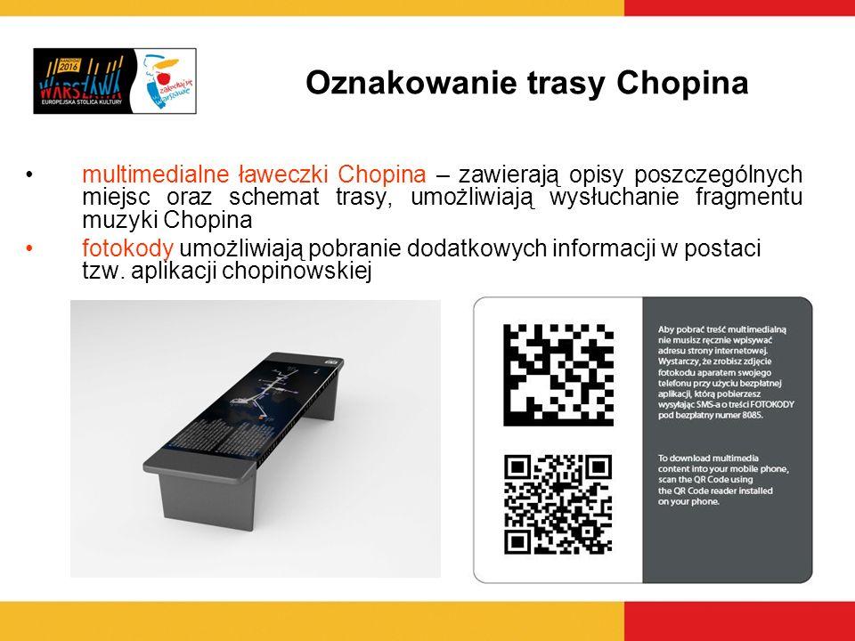 multimedialne ławeczki Chopina – zawierają opisy poszczególnych miejsc oraz schemat trasy, umożliwiają wysłuchanie fragmentu muzyki Chopina fotokody u
