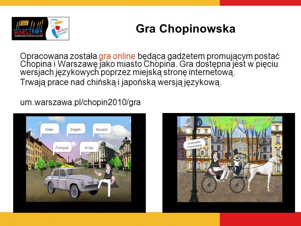 Gra Chopinowska Opracowana została gra online będąca gadżetem promującym postać Chopina i Warszawę jako miasto Chopina. Gra dostępna jest w pięciu wer