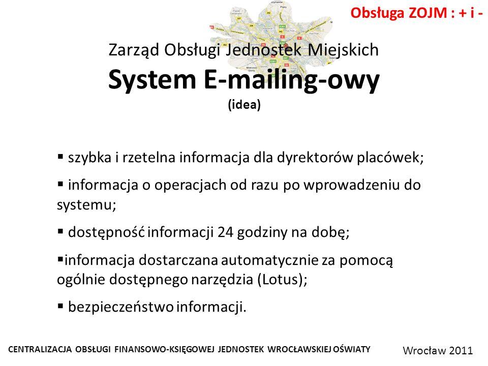 CENTRALIZACJA OBSŁUGI FINANSOWO-KSIĘGOWEJ JEDNOSTEK WROCŁAWSKIEJ OŚWIATY Wrocław 2011 Obsługa ZOJM : + i - Zarząd Obsługi Jednostek Miejskich System E-mailing-owy (idea) szybka i rzetelna informacja dla dyrektorów placówek; informacja o operacjach od razu po wprowadzeniu do systemu; dostępność informacji 24 godziny na dobę; informacja dostarczana automatycznie za pomocą ogólnie dostępnego narzędzia (Lotus); bezpieczeństwo informacji.