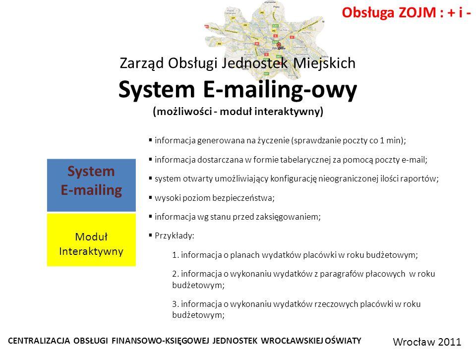 CENTRALIZACJA OBSŁUGI FINANSOWO-KSIĘGOWEJ JEDNOSTEK WROCŁAWSKIEJ OŚWIATY Wrocław 2011 Obsługa ZOJM : + i - Zarząd Obsługi Jednostek Miejskich System E-mailing-owy (możliwości - moduł interaktywny) informacja generowana na życzenie (sprawdzanie poczty co 1 min); informacja dostarczana w formie tabelarycznej za pomocą poczty e-mail; system otwarty umożliwiający konfigurację nieograniczonej ilości raportów; wysoki poziom bezpieczeństwa; informacja wg stanu przed zaksięgowaniem; Przykłady: 1.