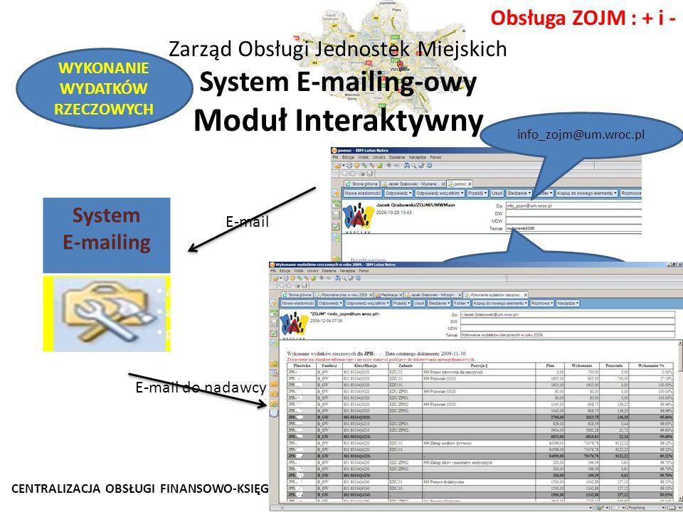 CENTRALIZACJA OBSŁUGI FINANSOWO-KSIĘGOWEJ JEDNOSTEK WROCŁAWSKIEJ OŚWIATY Wrocław 2011 Obsługa ZOJM : + i - Zarząd Obsługi Jednostek Miejskich System E-mailing-owy Moduł Interaktywny System E-mailing Moduł Interaktywny info_zojm@um.wroc.pl WYKONANIE2011 E-mail WYKONANIE WYDATKÓW RZECZOWYCH analiza nadawcy; analiza tematu wiadomości; przygotowanie zestawienia.