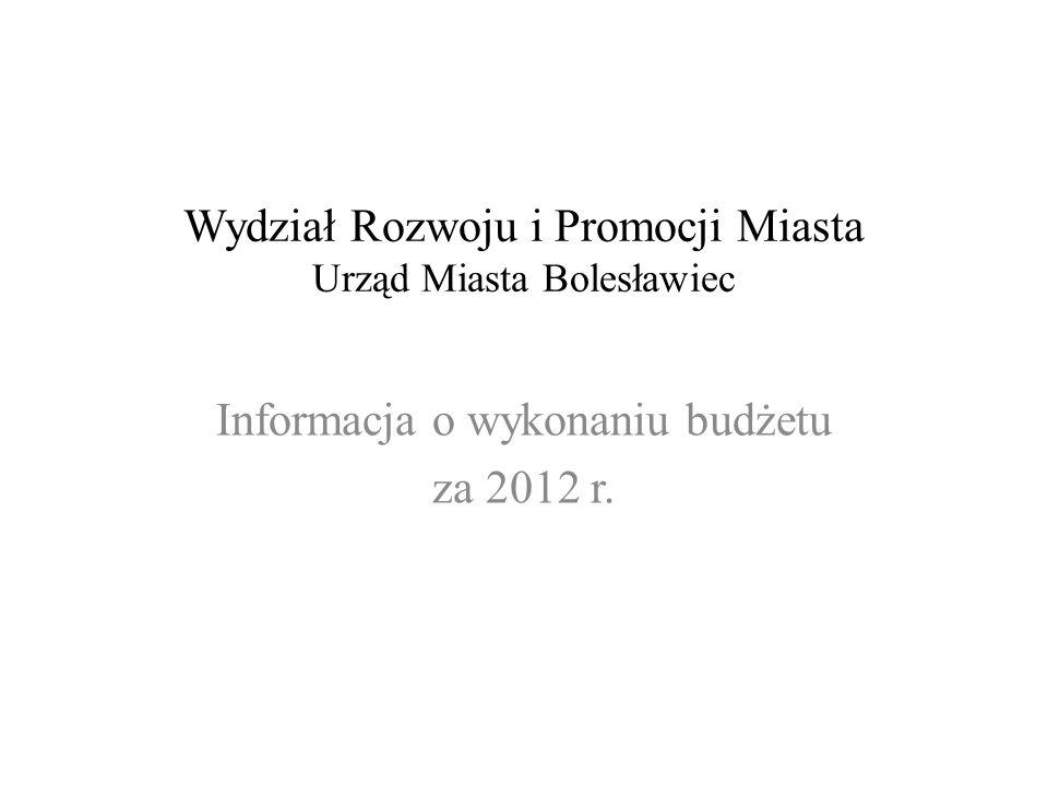 Wydział Rozwoju i Promocji Miasta Urząd Miasta Bolesławiec Informacja o wykonaniu budżetu za 2012 r.