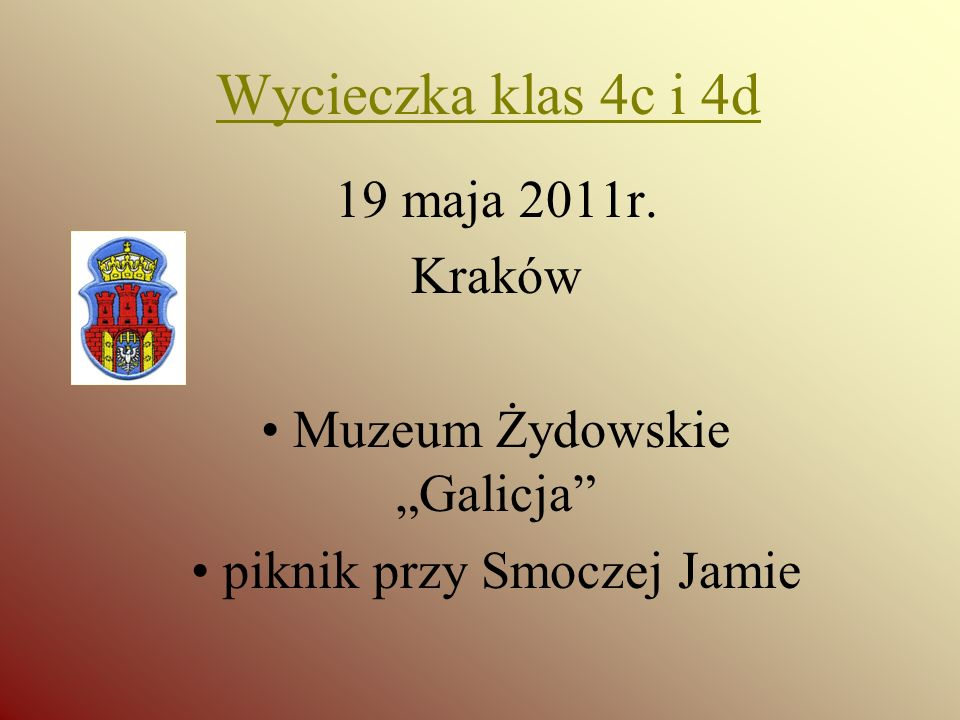 Wycieczka klas 4c i 4d 19 maja 2011r. Kraków Muzeum Żydowskie Galicja piknik przy Smoczej Jamie