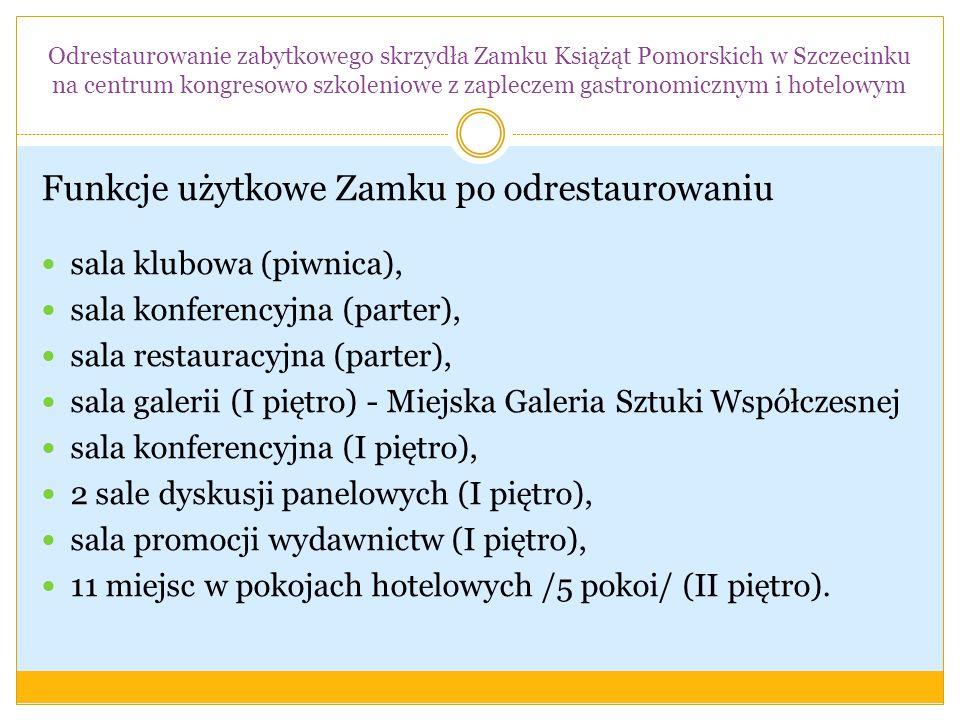 Funkcje użytkowe Zamku po odrestaurowaniu sala klubowa (piwnica), sala konferencyjna (parter), sala restauracyjna (parter), sala galerii (I piętro) -
