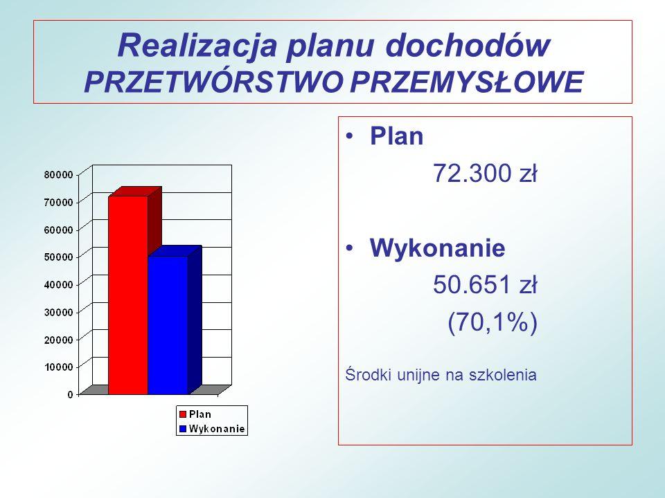Realizacja planu dochodów GOSPODARKA MIESZKANIOWA Plan 1.544.500 zł Wykonanie 697.991 zł (45,2%) 2007/2008 - 66,1% (sprzedaż nieruchomości, dzierżawy, najem )