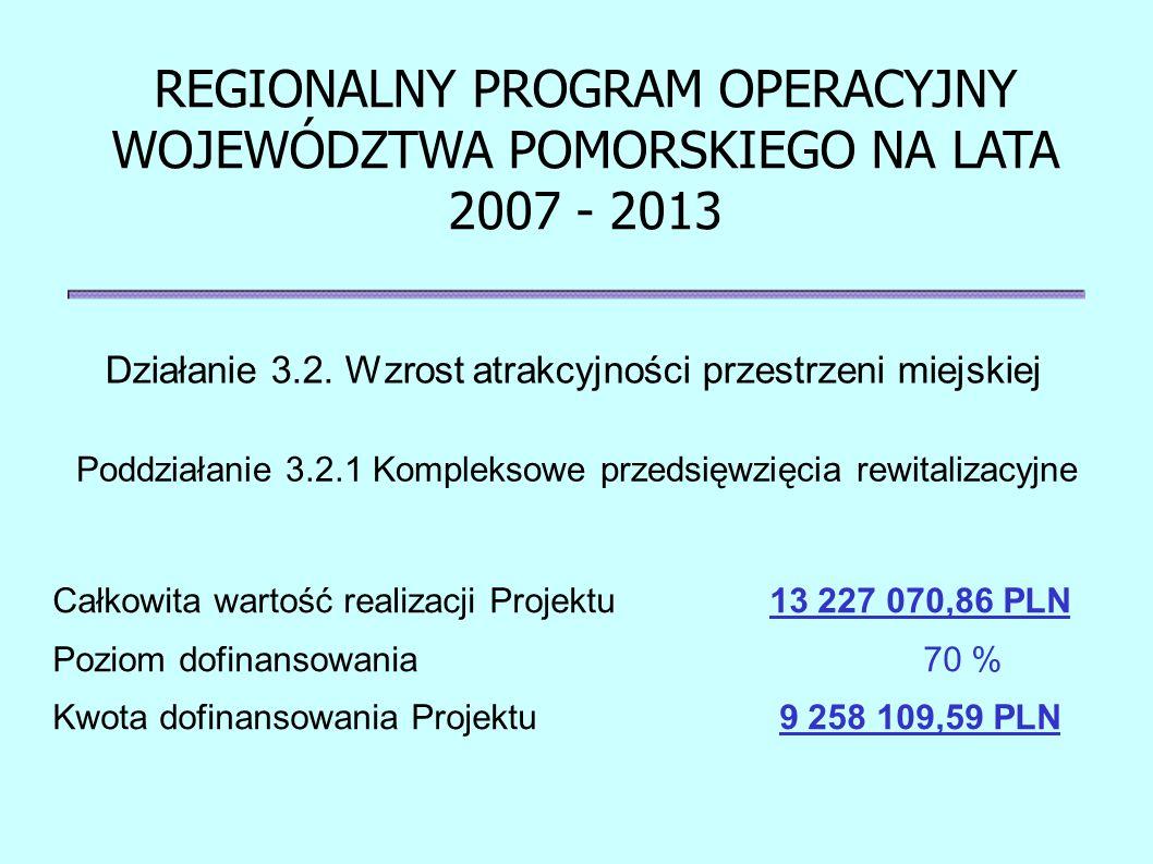 Działanie 3.2. Wzrost atrakcyjności przestrzeni miejskiej REGIONALNY PROGRAM OPERACYJNY WOJEWÓDZTWA POMORSKIEGO NA LATA 2007 - 2013 Całkowita wartość