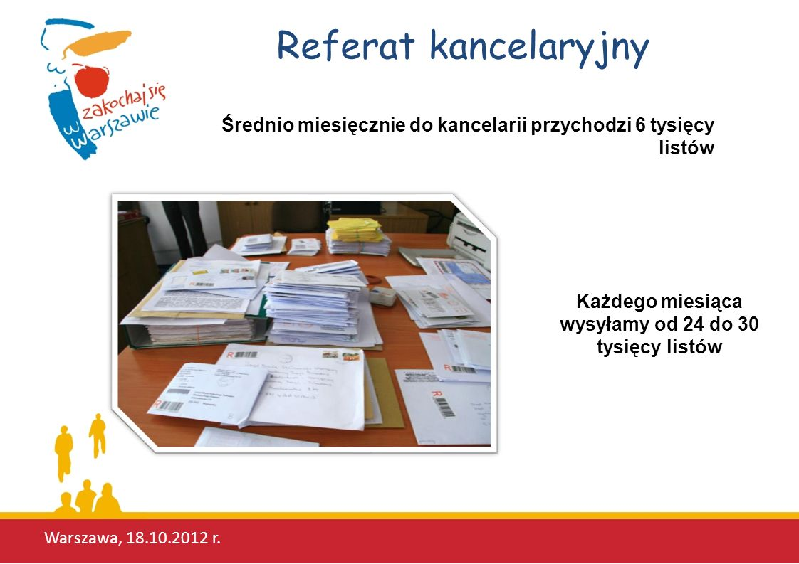 Referat kancelaryjny Warszawa, 18.10.2012 r. Średnio miesięcznie do kancelarii przychodzi 6 tysięcy listów Każdego miesiąca wysyłamy od 24 do 30 tysię