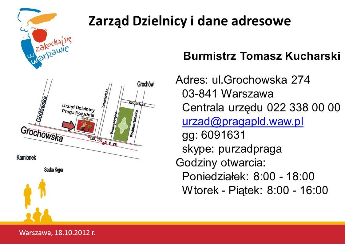 Zarząd Dzielnicy i dane adresowe Adres: ul.Grochowska 274 03-841 Warszawa Centrala urzędu 022 338 00 00 urzad@pragapld.waw.pl gg: 6091631urzad@pragapl