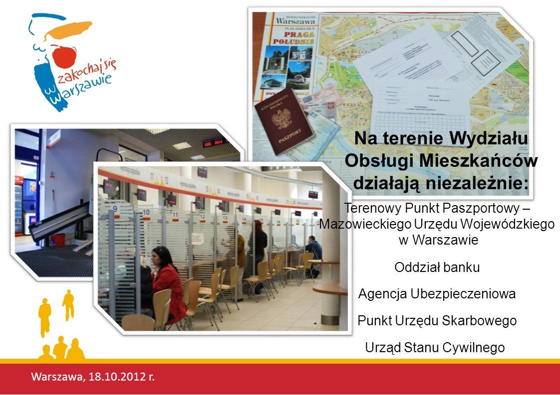Na terenie Wydziału Obsługi Mieszkańców działają niezależnie: Terenowy Punkt Paszportowy – Mazowieckiego Urzędu Wojewódzkiego w Warszawie Oddział bank