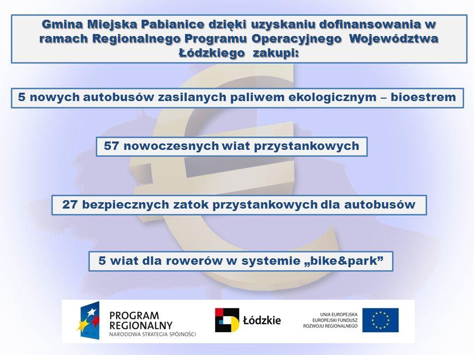 Gmina Miejska Pabianice dzięki uzyskaniu dofinansowania w ramach Regionalnego Programu Operacyjnego Województwa Łódzkiego zakupi: 5 nowych autobusów z