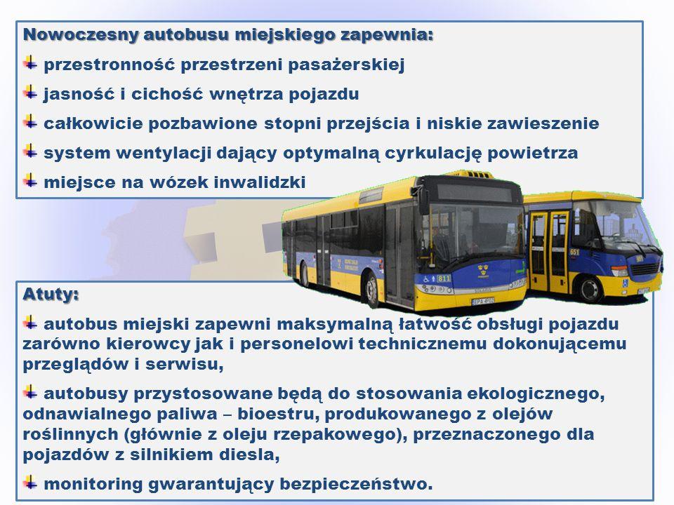 Nowoczesny autobusu miejskiego zapewnia: przestronność przestrzeni pasażerskiej jasność i cichość wnętrza pojazdu całkowicie pozbawione stopni przejśc