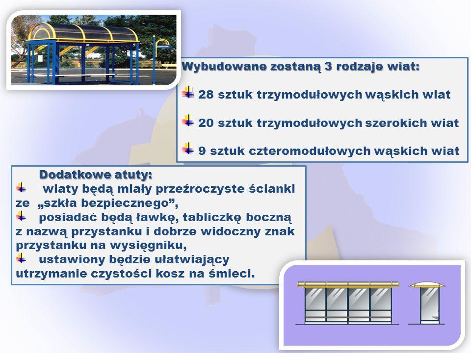 Wybudowane zostaną 3 rodzaje wiat: 28 sztuk trzymodułowych wąskich wiat 20 sztuk trzymodułowych szerokich wiat 9 sztuk czteromodułowych wąskich wiat D