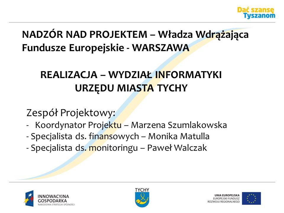 WARTOŚĆ PROJEKTU: Koszt całkowity projektu 884 880,00 PLN Kwota dofinansowania projektu (budżet Państwa i UE) 839 376,05 PLN OKRES REALIZACJI: kwiecień 2010 – 31 maja 2013