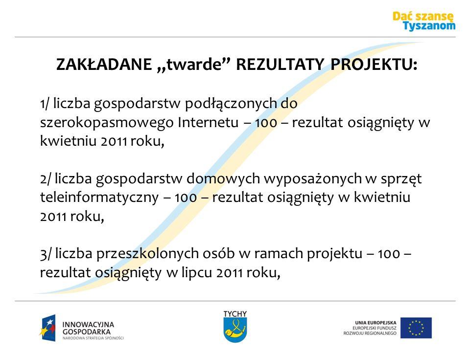 ZAKŁADANE twarde REZULTATY PROJEKTU: 1/ liczba gospodarstw podłączonych do szerokopasmowego Internetu – 100 – rezultat osiągnięty w kwietniu 2011 roku