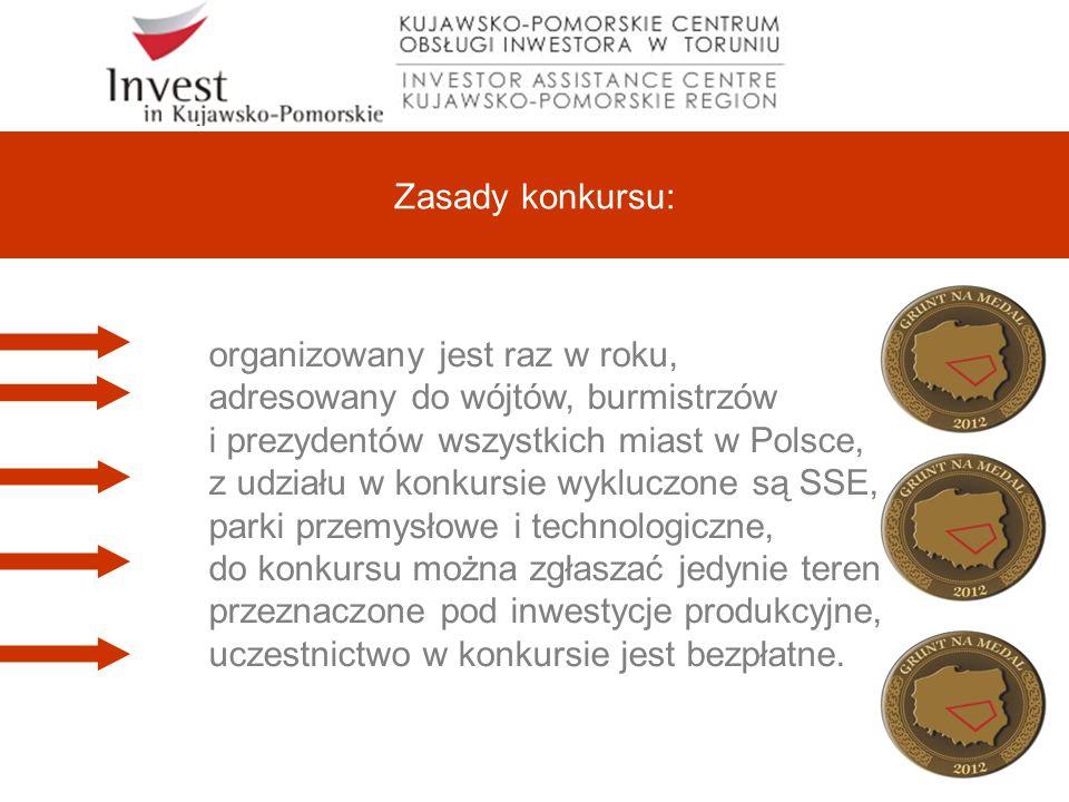 Zasady konkursu: organizowany jest raz w roku, adresowany do wójtów, burmistrzów i prezydentów wszystkich miast w Polsce, z udziału w konkursie wykluczone są SSE, parki przemysłowe i technologiczne, do konkursu można zgłaszać jedynie tereny przeznaczone pod inwestycje produkcyjne, uczestnictwo w konkursie jest bezpłatne.