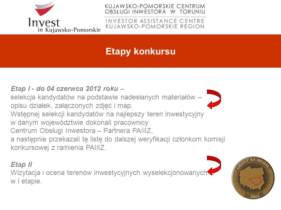Etapy konkursu Etap I - do 04 czerwca 2012 roku – selekcja kandydatów na podstawie nadesłanych materiałów – opisu działek, załączonych zdjęć i map.