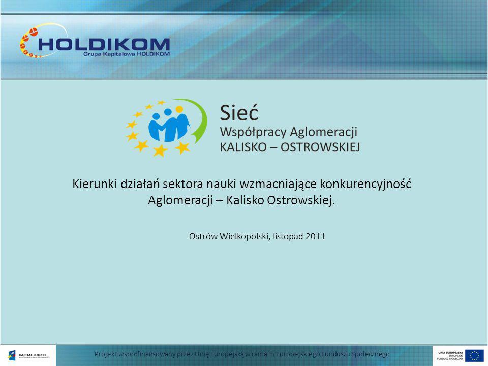 Ostrów Wielkopolski, listopad 2011 Projekt współfinansowany przez Unię Europejską w ramach Europejskiego Funduszu Społecznego Kierunki działań sektora nauki wzmacniające konkurencyjność Aglomeracji – Kalisko Ostrowskiej.