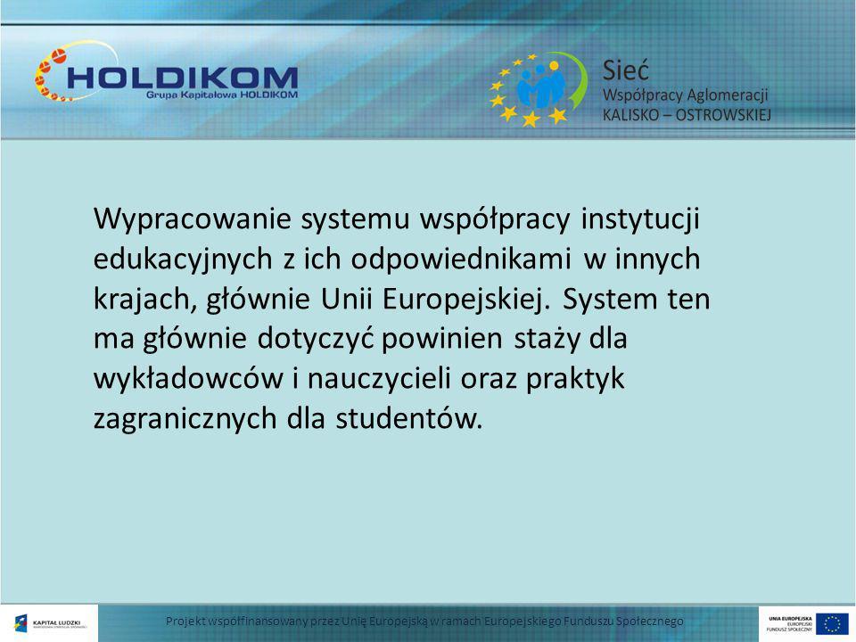 Wypracowanie systemu współpracy instytucji edukacyjnych z ich odpowiednikami w innych krajach, głównie Unii Europejskiej.