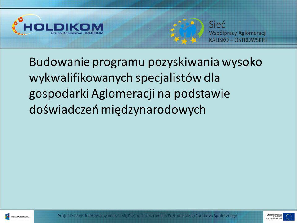 . Budowanie programu pozyskiwania wysoko wykwalifikowanych specjalistów dla gospodarki Aglomeracji na podstawie doświadczeń międzynarodowych Projekt współfinansowany przez Unię Europejską w ramach Europejskiego Funduszu Społecznego