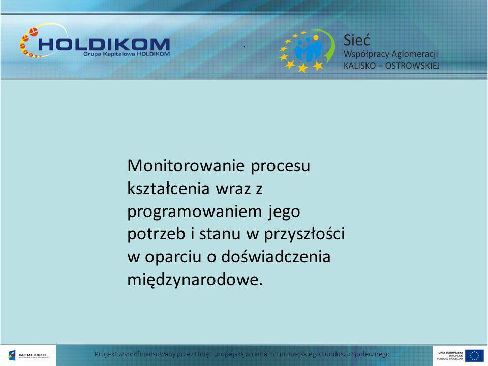 . Zbudowanie systemu oceny szkół i instytucji zaangażowanych w proces kształcenia dla uzyskania jednolitego obrazu tego sektora Projekt współfinansowany przez Unię Europejską w ramach Europejskiego Funduszu Społecznego