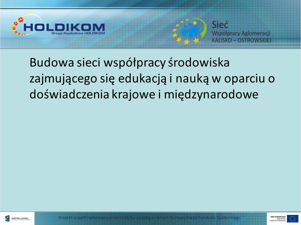 . Budowa sieci współpracy środowiska zajmującego się edukacją i nauką w oparciu o doświadczenia krajowe i międzynarodowe Projekt współfinansowany przez Unię Europejską w ramach Europejskiego Funduszu Społecznego