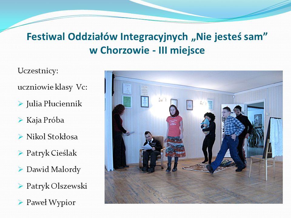 Festiwal Twórczości Młodzieży Szkolnej w Siemianowicach Śląskich – III miejsce Spektakl Marii Krawczyk Zamienione dzieci na podstawie opowiadania Selm