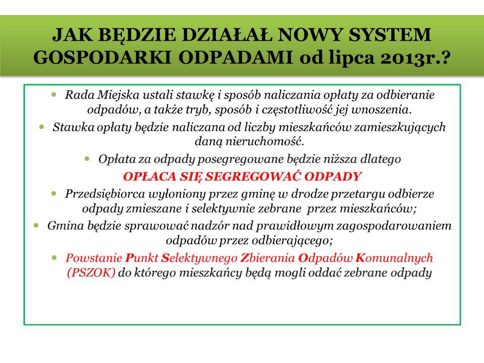 JAK BĘDZIE DZIAŁAŁ NOWY SYSTEM GOSPODARKI ODPADAMI od lipca 2013r.