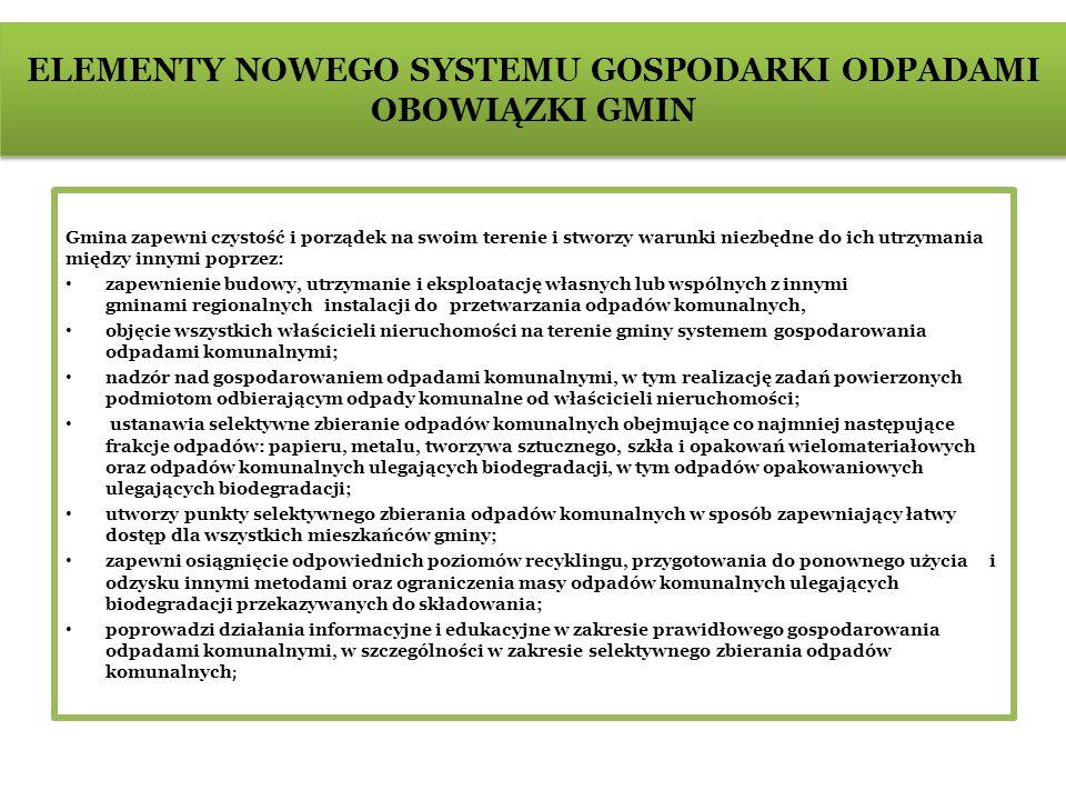 ELEMENTY NOWEGO SYSTEMU GOSPODARKI ODPADAMI OPŁATA ZA GOSPODAROWANIE ODPADAMI KOMUNALNYMI Właściciel nieruchomości będzie wnosił na rzecz gminy opłatę za gospodarowanie odpadami komunalnymi potocznie nazywaną podatkiem śmieciowym W zamian za opłatę gmina przejmie obowiązki właściciela nieruchomości w zakresie gospodarowania odpadami komunalnymi; Rada Miejska w drodze uchwały zdecyduje czy przejmie obowiązki właścicieli nieruchomości w zakresie gospodarowania odpadami komunalnymi w przypadku nieruchomości, na których nie zamieszkują mieszkańcy, a powstają odpady komunalne (sklepy, szkoły, punkty usługowe, domki letniskowe)