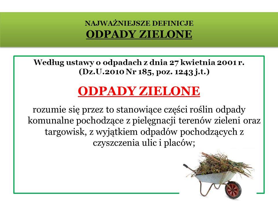 Według ustawy o odpadach z dnia 27 kwietnia 2001 r. (Dz.U.2010 Nr 185, poz. 1243 j.t.) ODPADY ZIELONE rozumie się przez to stanowiące części roślin od