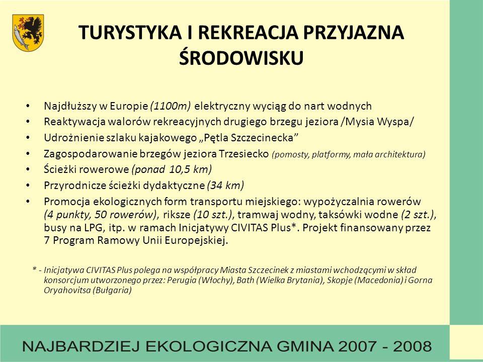 TURYSTYKA I REKREACJA PRZYJAZNA ŚRODOWISKU Najdłuższy w Europie (1100m) elektryczny wyciąg do nart wodnych Reaktywacja walorów rekreacyjnych drugiego brzegu jeziora /Mysia Wyspa/ Udrożnienie szlaku kajakowego Pętla Szczecinecka Zagospodarowanie brzegów jeziora Trzesiecko (pomosty, platformy, mała architektura) Ścieżki rowerowe (ponad 10,5 km) Przyrodnicze ścieżki dydaktyczne (34 km) Promocja ekologicznych form transportu miejskiego: wypożyczalnia rowerów (4 punkty, 50 rowerów), riksze (10 szt.), tramwaj wodny, taksówki wodne (2 szt.), busy na LPG, itp.