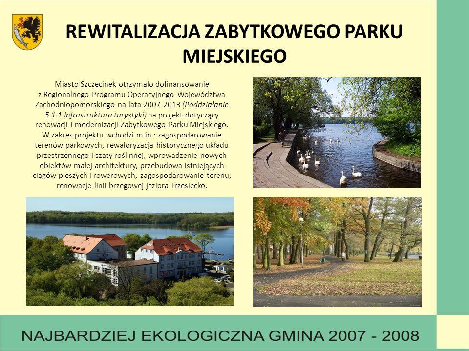 REWITALIZACJA ZABYTKOWEGO PARKU MIEJSKIEGO Miasto Szczecinek otrzymało dofinansowanie z Regionalnego Programu Operacyjnego Województwa Zachodniopomorskiego na lata 2007-2013 (Poddziałanie 5.1.1 Infrastruktura turystyki) na projekt dotyczący renowacji i modernizacji Zabytkowego Parku Miejskiego.