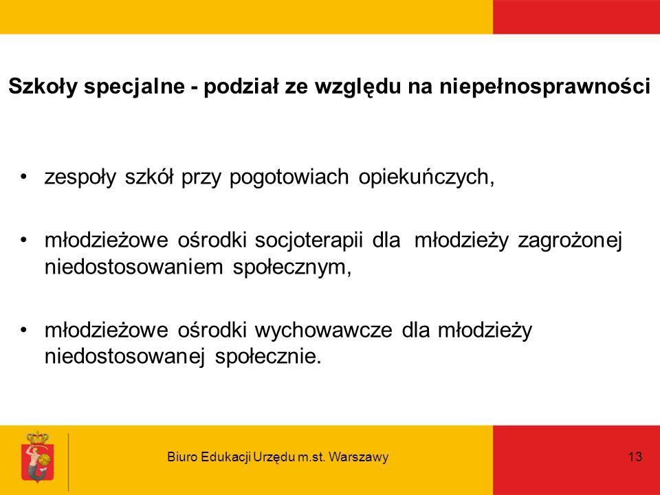 Biuro Edukacji Urzędu m.st. Warszawy13 Szkoły specjalne - podział ze względu na niepełnosprawności zespoły szkół przy pogotowiach opiekuńczych, młodzi