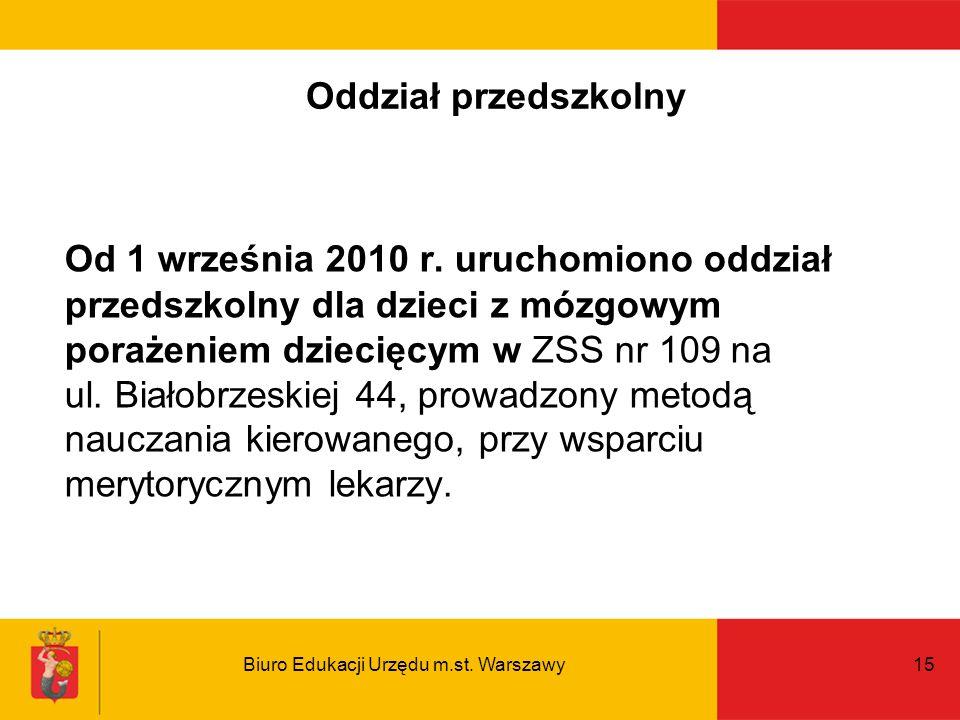 Biuro Edukacji Urzędu m.st. Warszawy15 Oddział przedszkolny Od 1 września 2010 r. uruchomiono oddział przedszkolny dla dzieci z mózgowym porażeniem dz