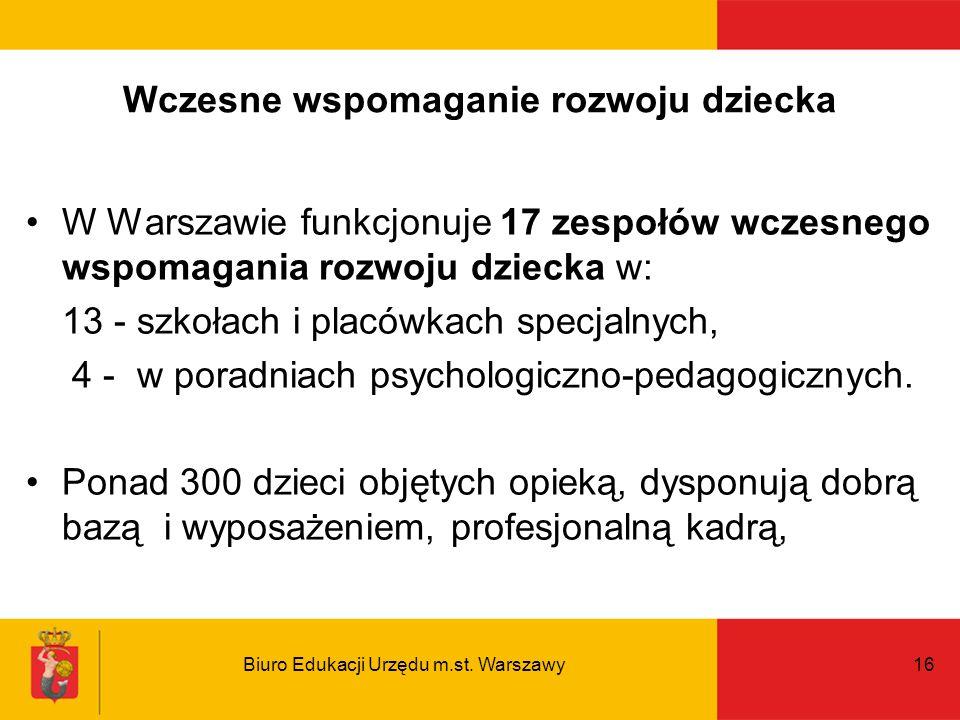 Biuro Edukacji Urzędu m.st. Warszawy16 Wczesne wspomaganie rozwoju dziecka W Warszawie funkcjonuje 17 zespołów wczesnego wspomagania rozwoju dziecka w