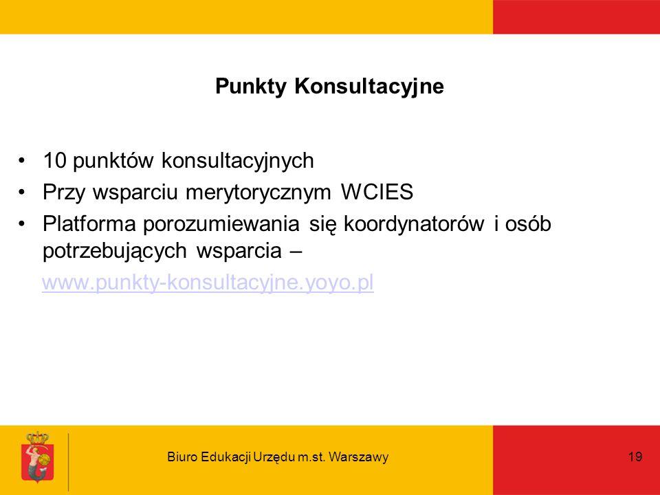 Biuro Edukacji Urzędu m.st. Warszawy19 Punkty Konsultacyjne 10 punktów konsultacyjnych Przy wsparciu merytorycznym WCIES Platforma porozumiewania się