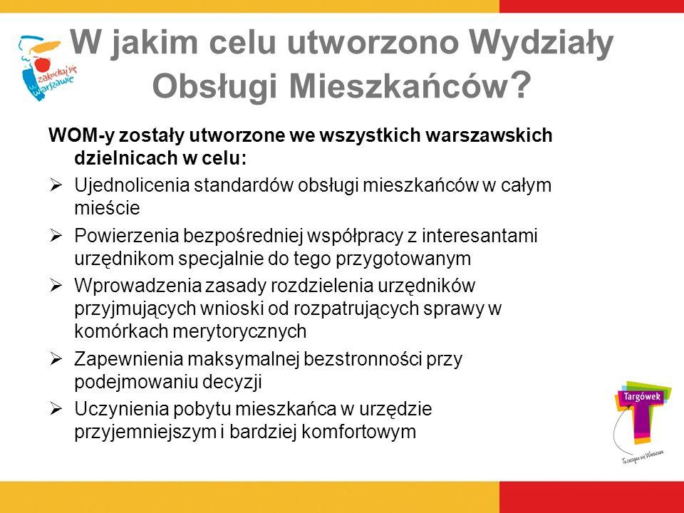 W jakim celu utworzono Wydziały Obsługi Mieszkańców ? WOM-y zostały utworzone we wszystkich warszawskich dzielnicach w celu: Ujednolicenia standardów