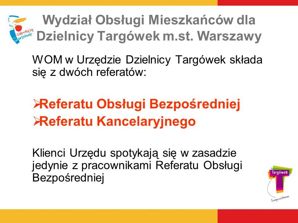 Wydział Obsługi Mieszkańców dla Dzielnicy Targówek m.st. Warszawy WOM w Urzędzie Dzielnicy Targówek składa się z dwóch referatów: Referatu Obsługi Bez