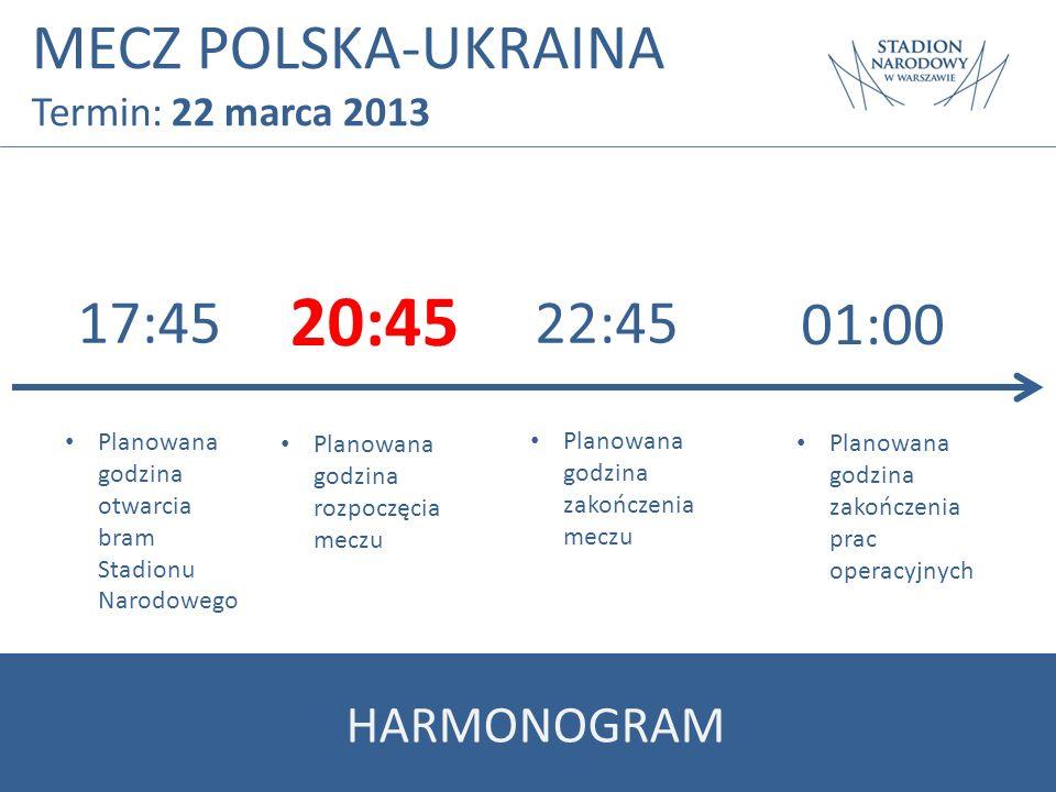 MECZ POLSKA-UKRAINA Termin: 22 marca 2013 17:45 20:45 22:45 Planowana godzina otwarcia bram Stadionu Narodowego Planowana godzina rozpoczęcia meczu Pl