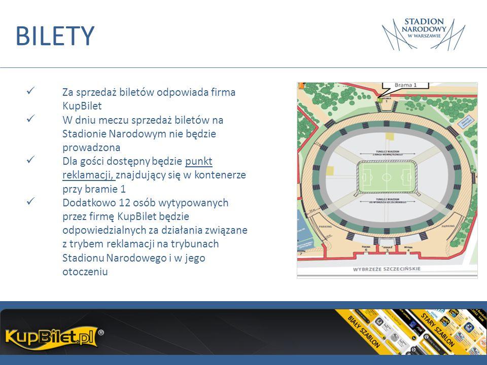 BILETY Za sprzedaż biletów odpowiada firma KupBilet W dniu meczu sprzedaż biletów na Stadionie Narodowym nie będzie prowadzona Dla gości dostępny będz